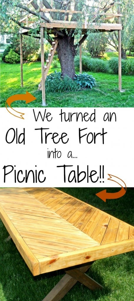 tree fort into picnic table