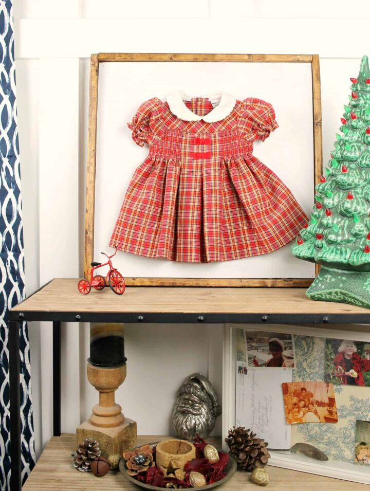 Such an adorable way to decorate with your daughter's first Christmas dress! The frame comes together so quickly too!