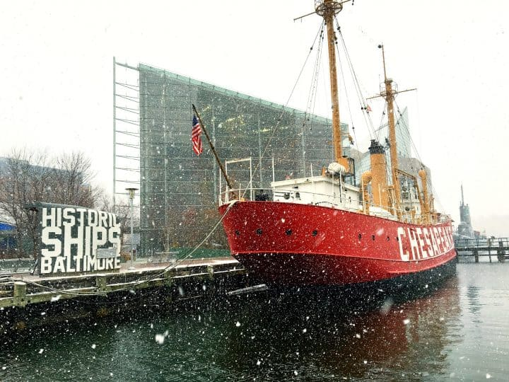 historic ships in Baltimore in winter