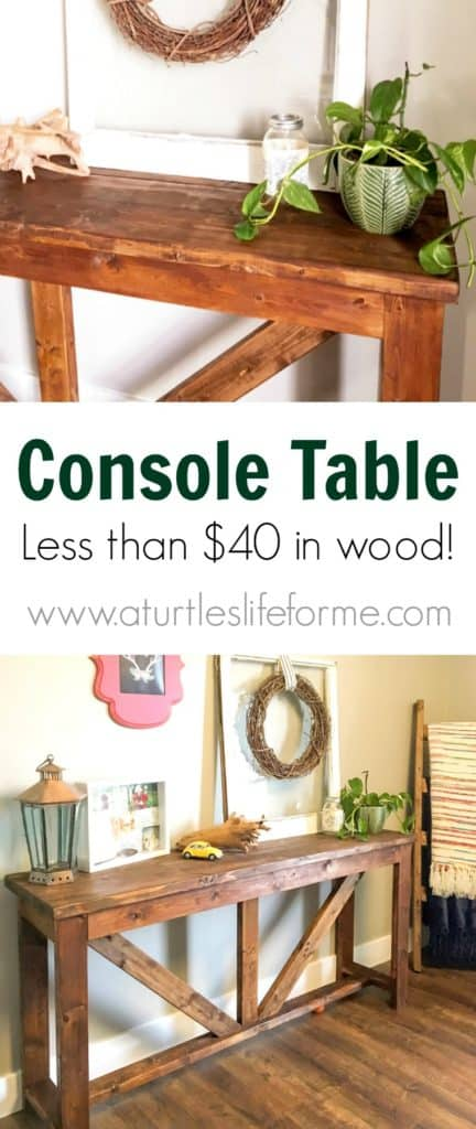 DIY Console Table out of 2x4s for less than $40 in wood!