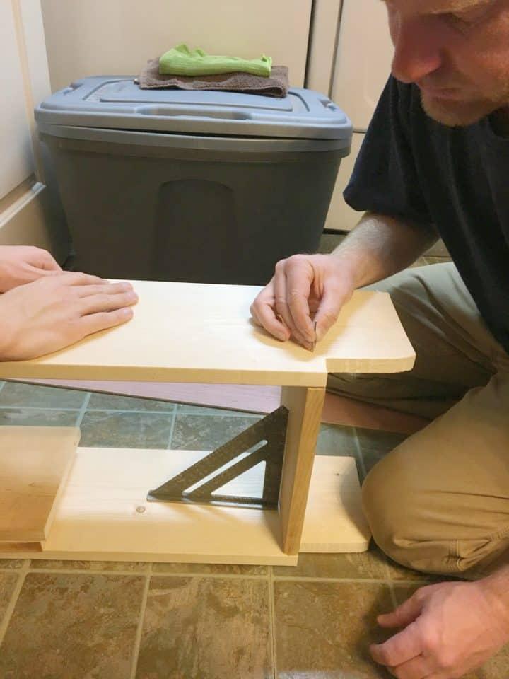 building a wooden shelf