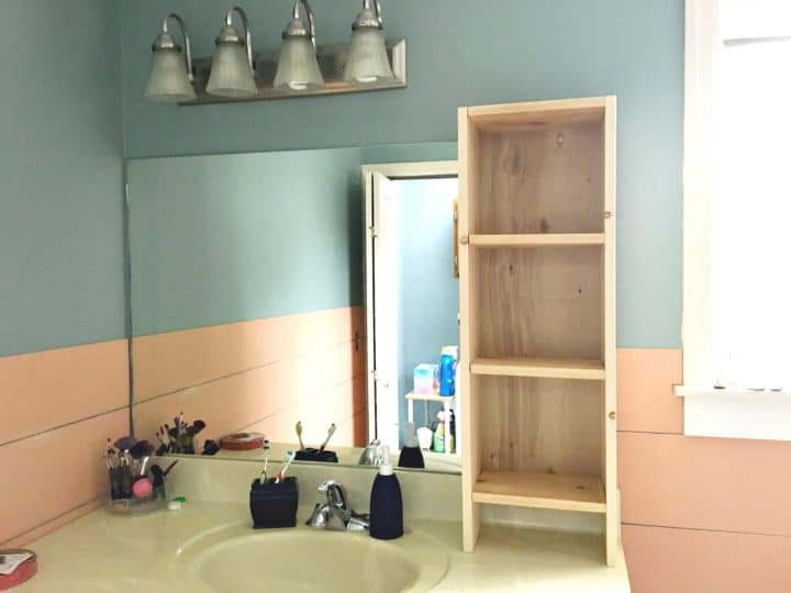 creating a built in shelf for a bathroom vanity