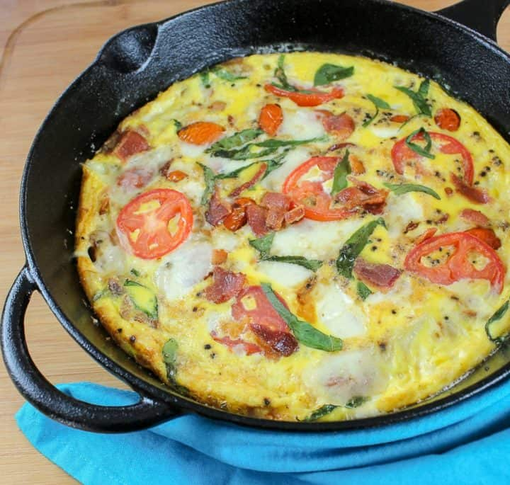 Caprese Frittata with bacon recipe