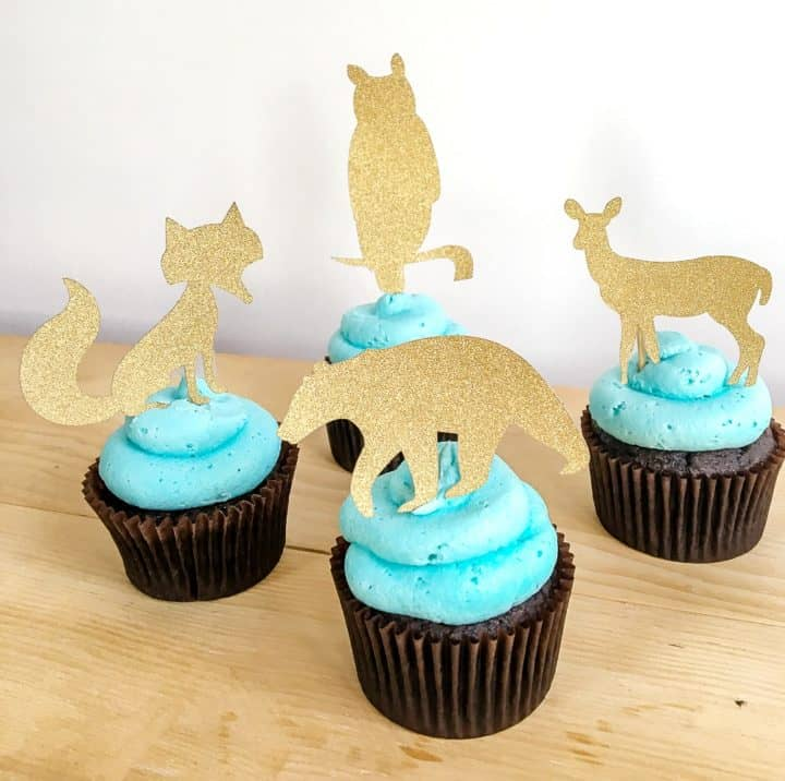 Woodland Creatures Cupcake Toppers with glitter cardstock