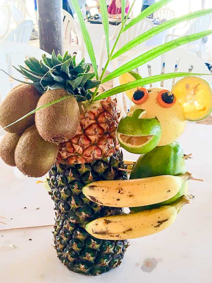 Fruit carving activity at Beaches Negril