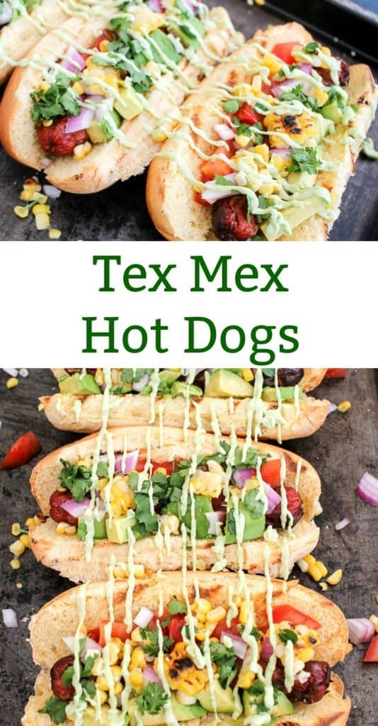 Hot Dog toppings with corn and avocadoes