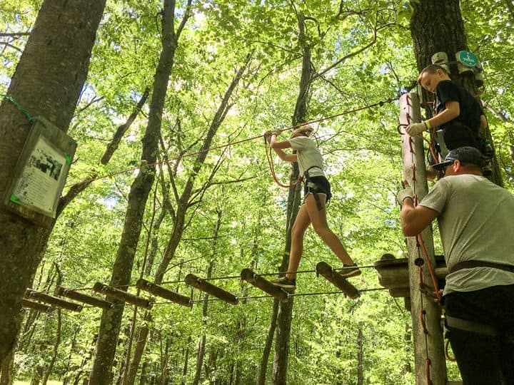 Poconos Skytop Lodge tree top adventure course