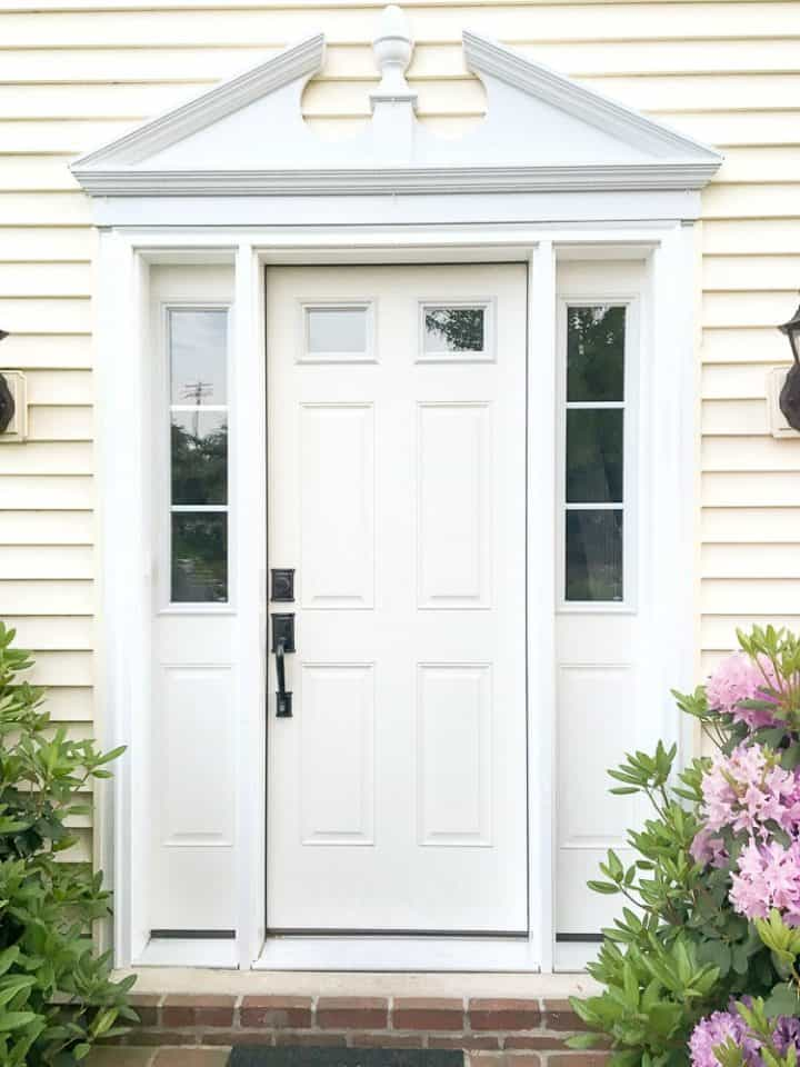 white front door yellow house. before white door with sidelights on yellow siding house front o
