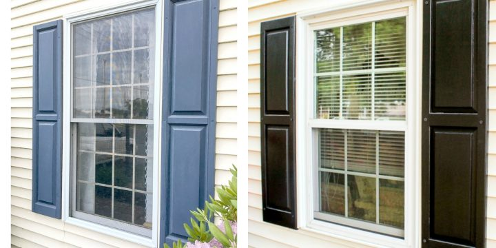 blue or black shutters on yellow siding