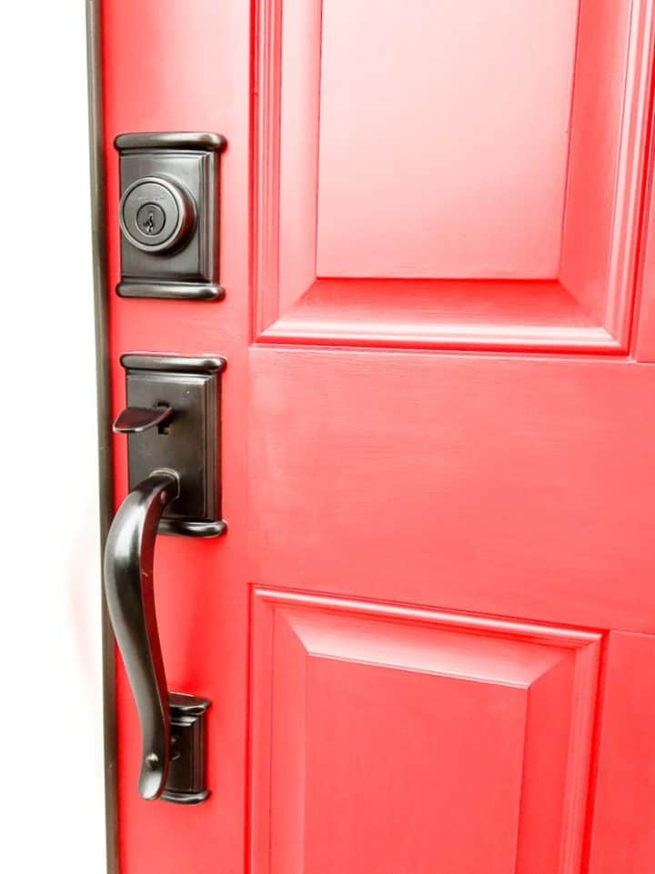 Red Painted Front Door With Black Handle