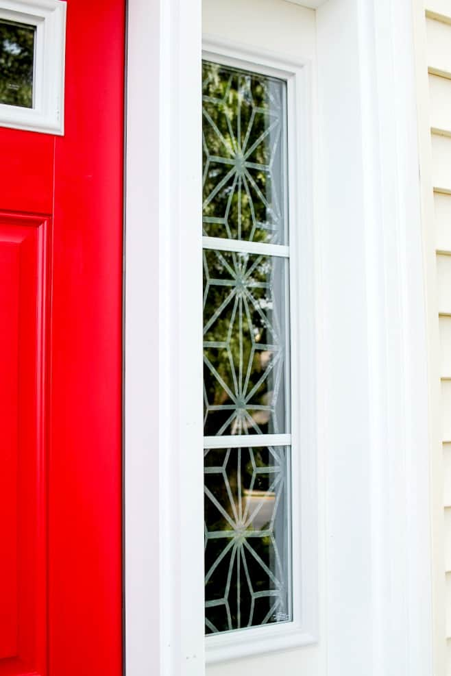 covering front door sidelights with window cling & Window Cling Curtains with Cricut - A Turtle\u0027s Life for Me