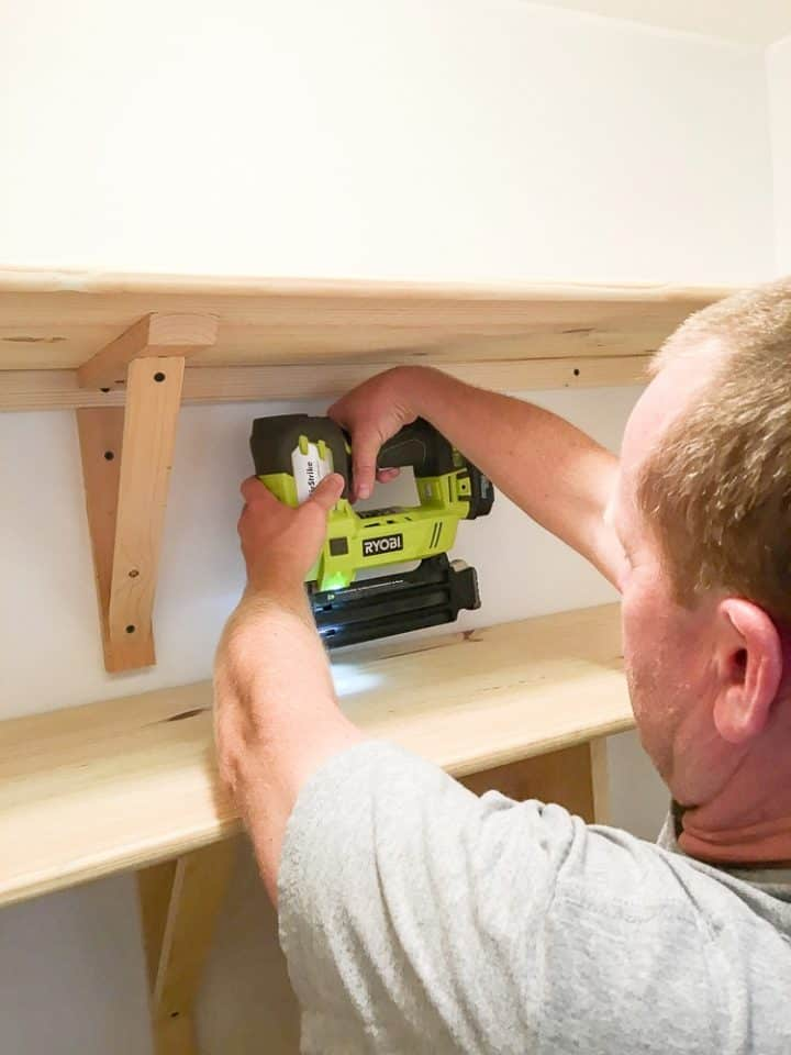 how to build DIY pantry shelves with a nail gun