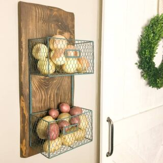 how to build a wood scrap DIY potato onion rack