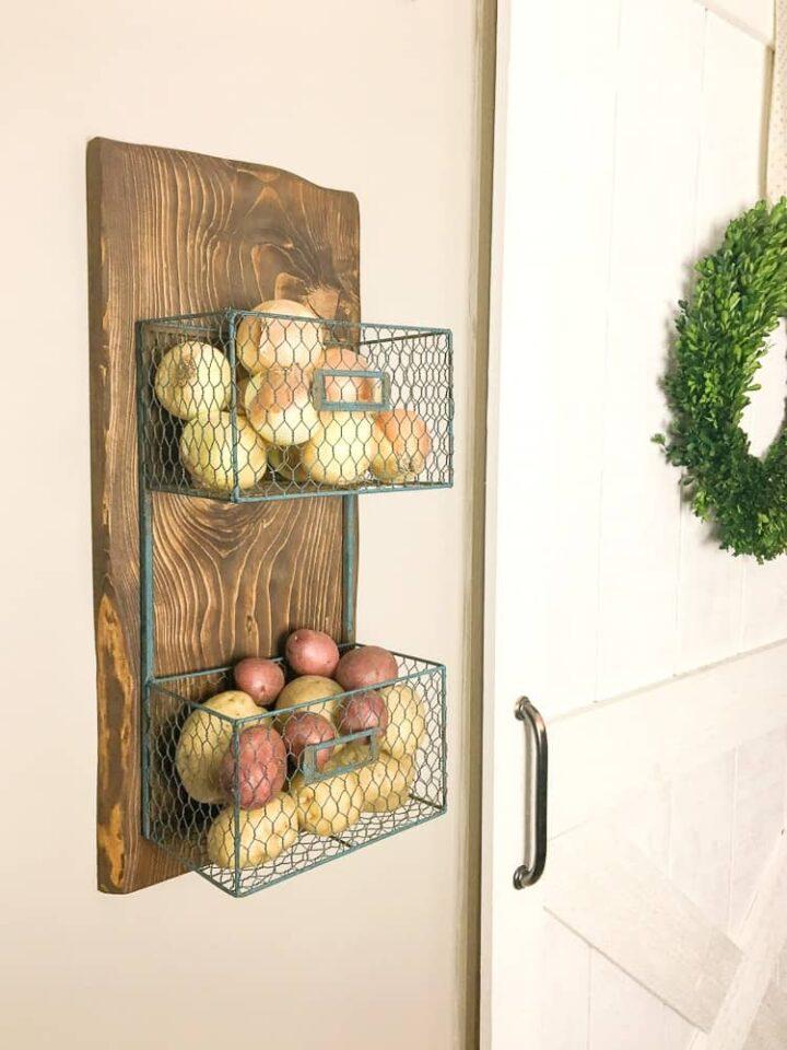 how to build a wood scrap DIY potato onion rack