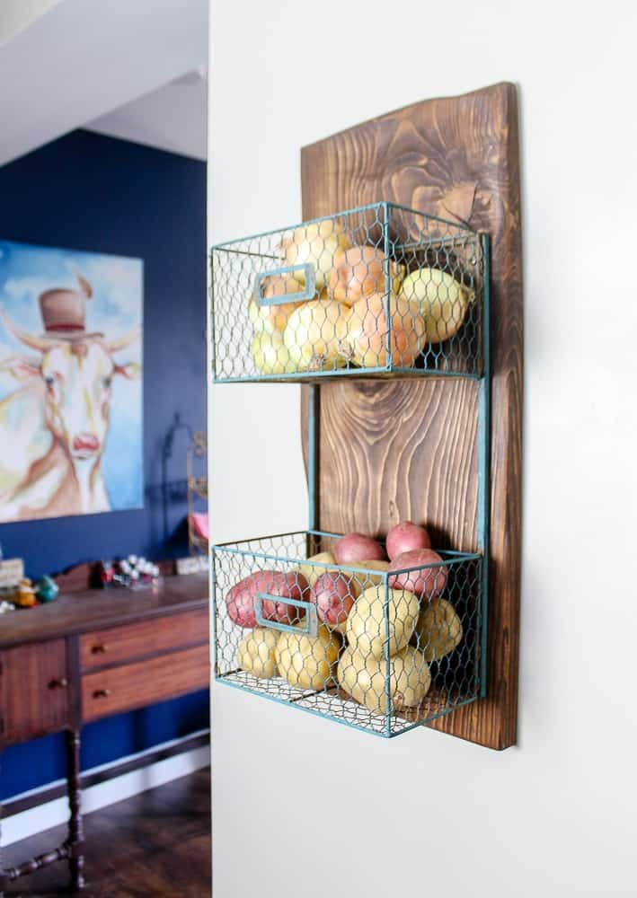 how to make produce wall rack