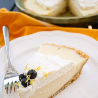 lemon ice box pie recipe with blueberries and whipped cream