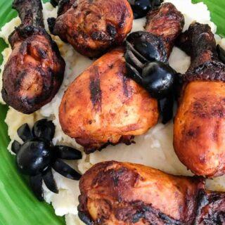 Chicken Drumstick Halloween dinner idea olive spiders
