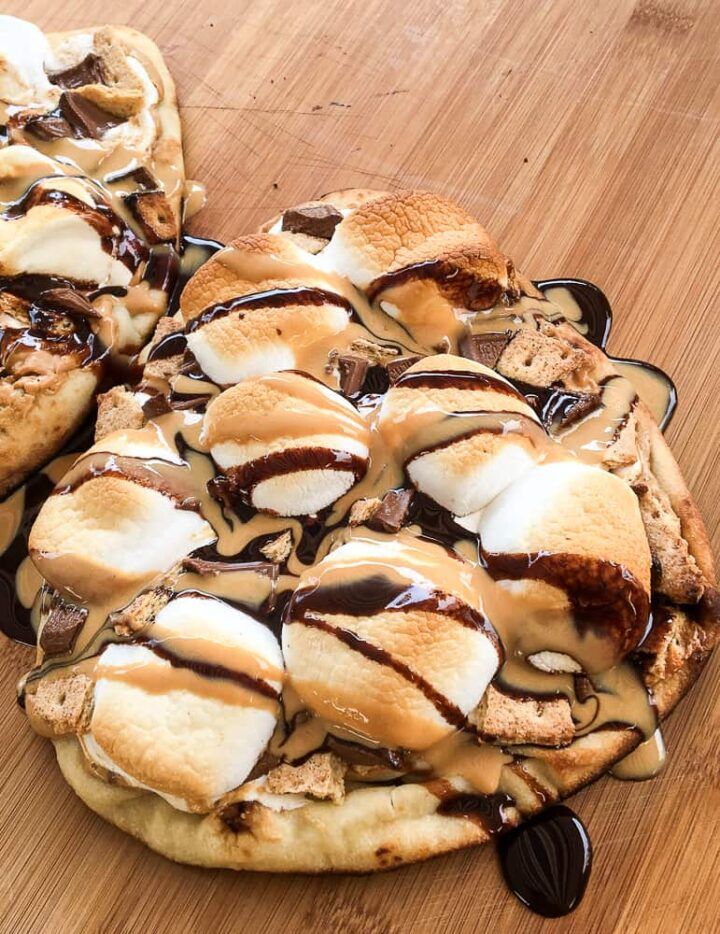 Peanut butter s'mores pizza grilled recipe