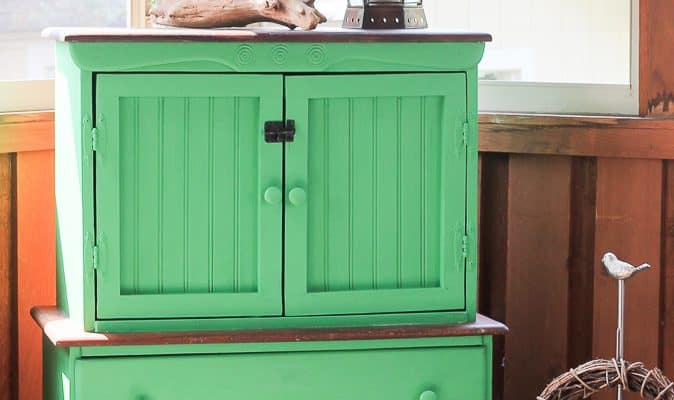 Green Painted Thrifted Wood Hutch