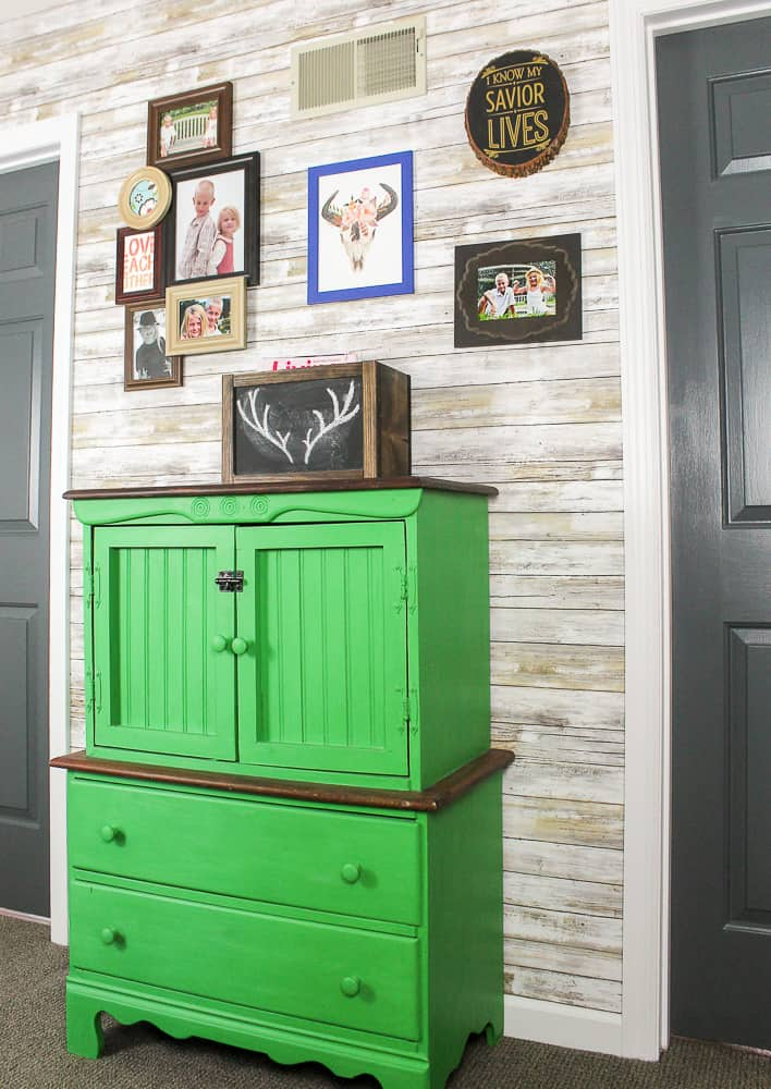 green painted stained furniture