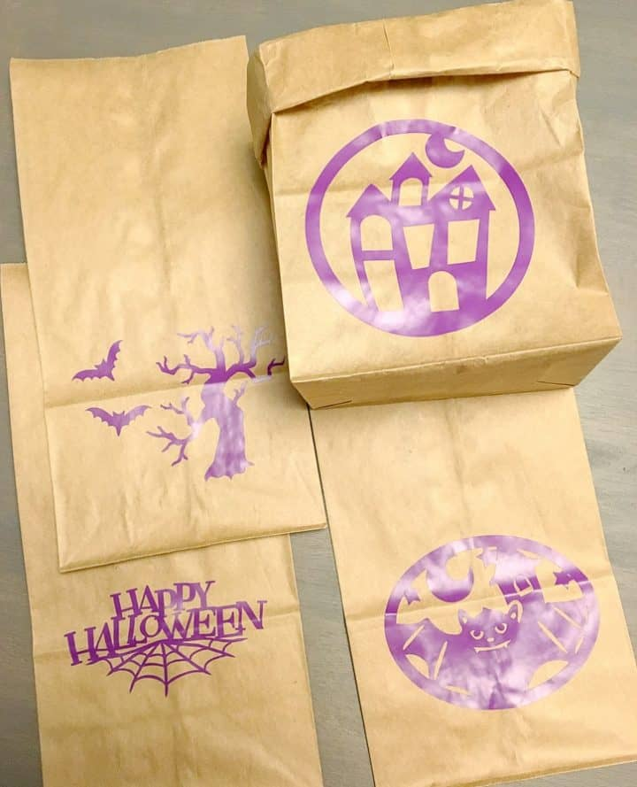 how to make Halloween bags using cricut
