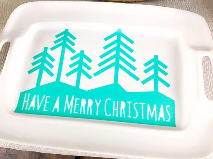 Christmas cookie tray decorated with a teal Have a Merry Christmas design using a Cricut
