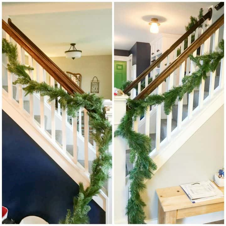 how to arrange a christmas stair garland