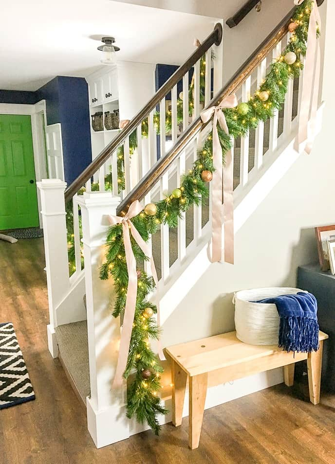 how to make faux evergreen staircase garland with led lights