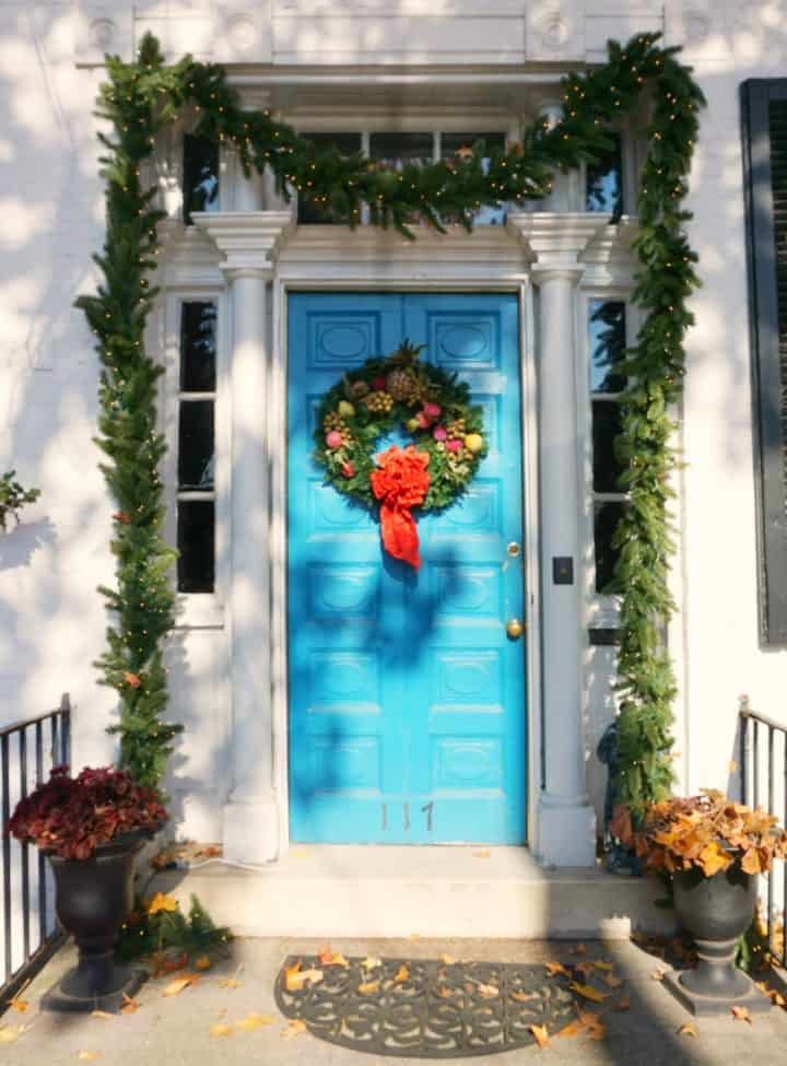 Blue Christmas decorated door in Frederick MD