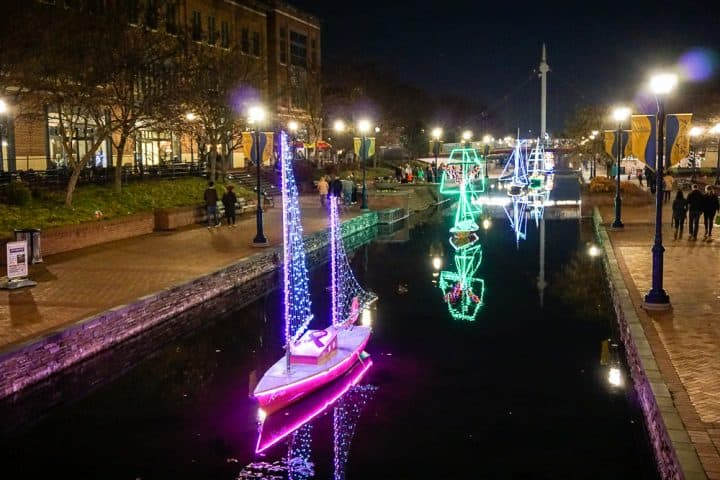 Christmas lights boats Carroll Creek Frederick MD
