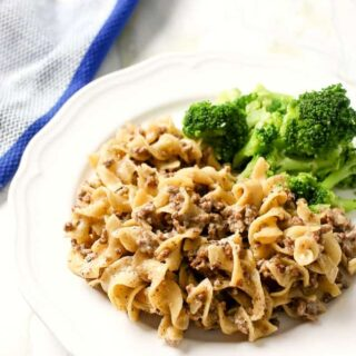 Beef Stroganoff with egg noodles in instant pot pressure cooker