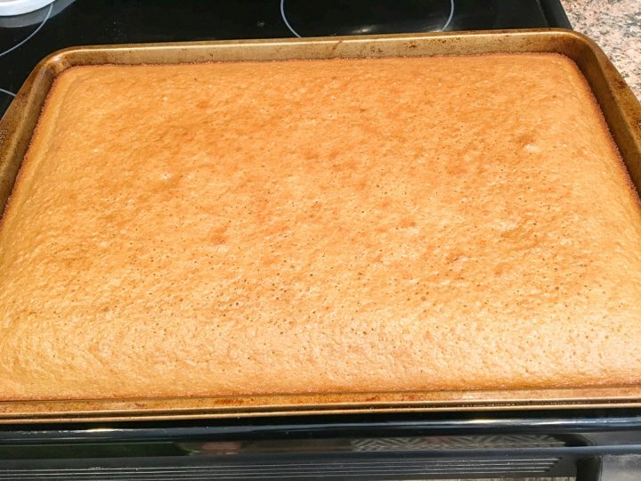 Peanut Butter Sheet Cake in a cookie sheet