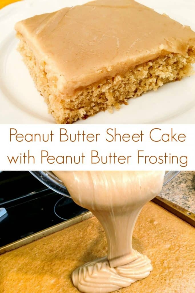 Peanut Butter Sheet Cake recipe with peanut butter frosting