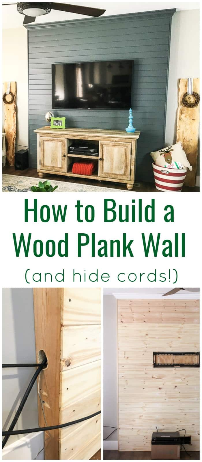Wood Plank TV Wall with no cords
