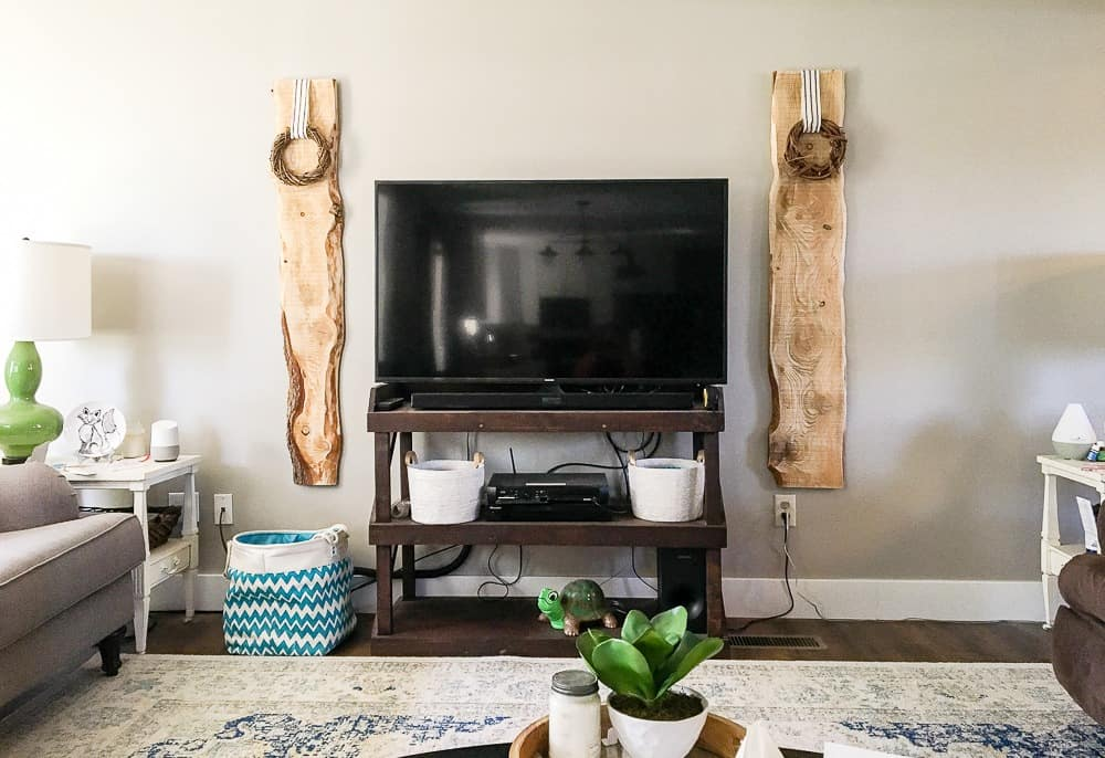 living room wall before TV planking