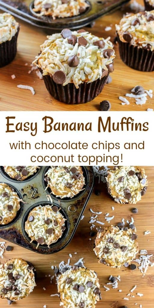 Easy Chocolate Chip Banana Muffins Recipe with Coconut