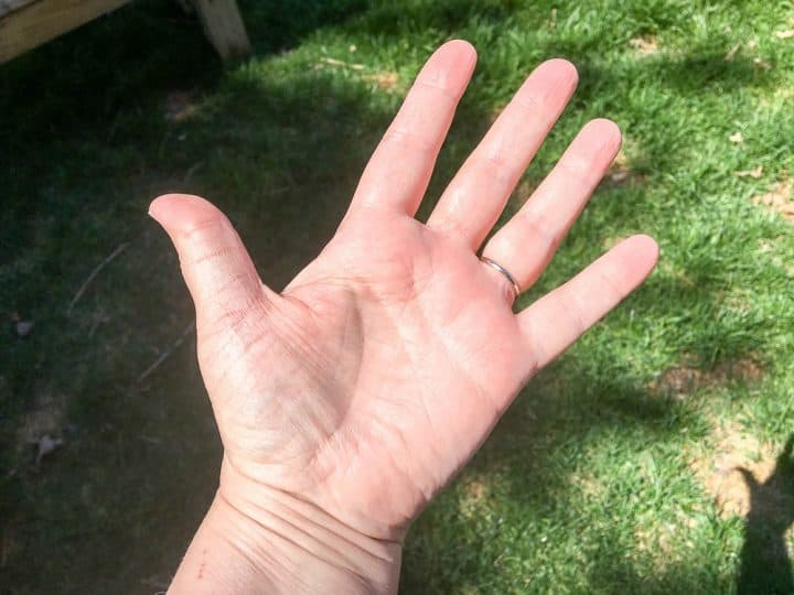 hands after staining