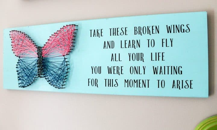Butterfly string art with quote