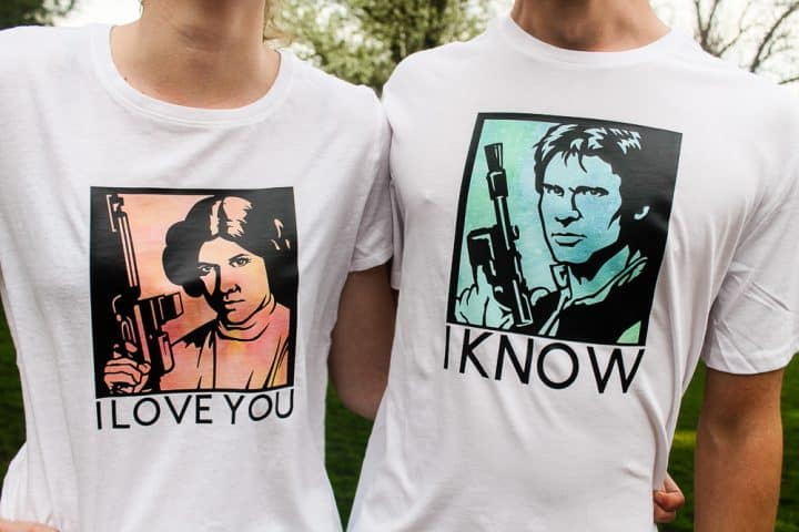 Cricut Star Wars Princess Leia Han Solo shirts