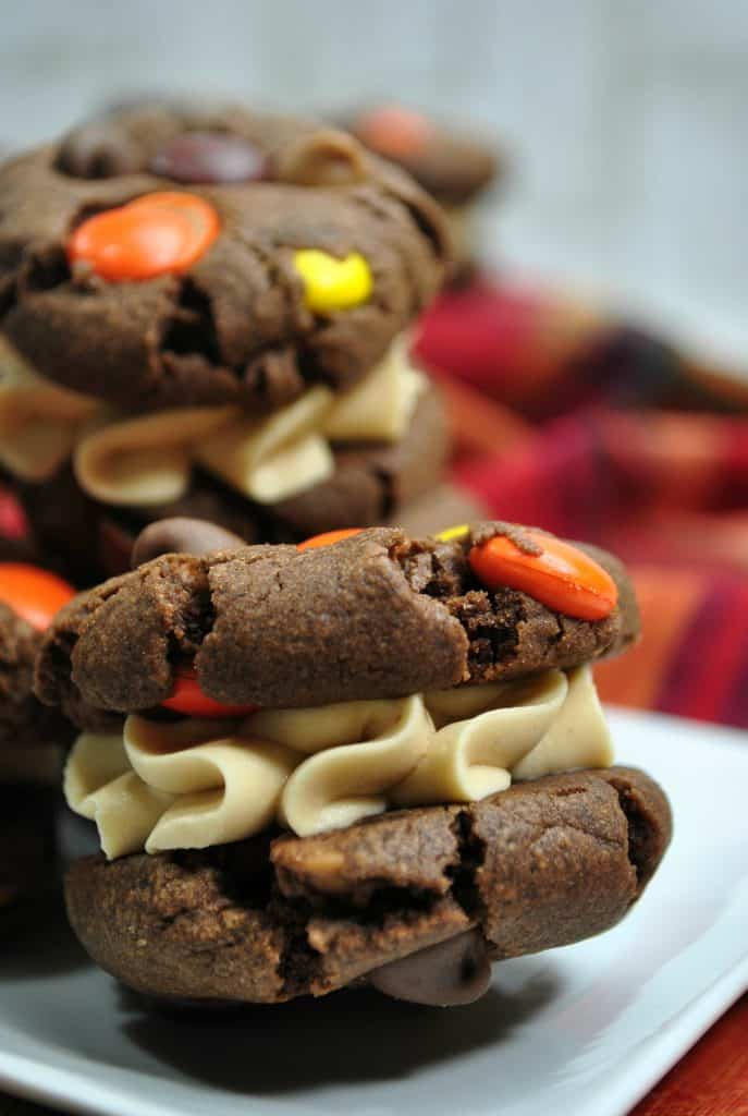 Peanut Butter Sandwich Cookie with Reese's Pieces