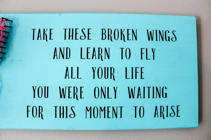 how to make butterfly string art with song lyrics