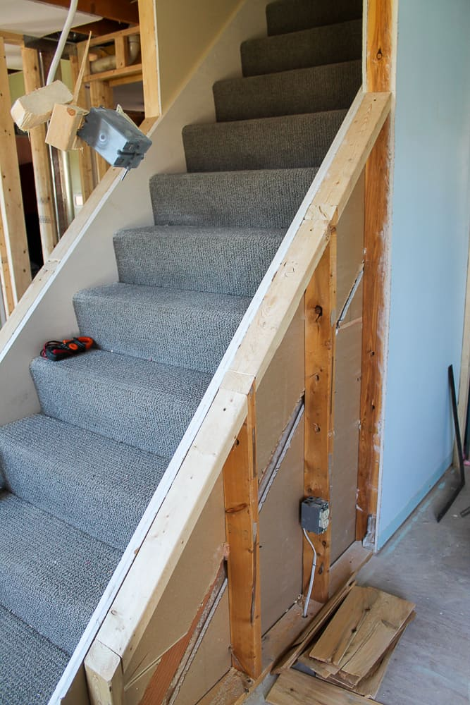 how to open up interior staircase with railing