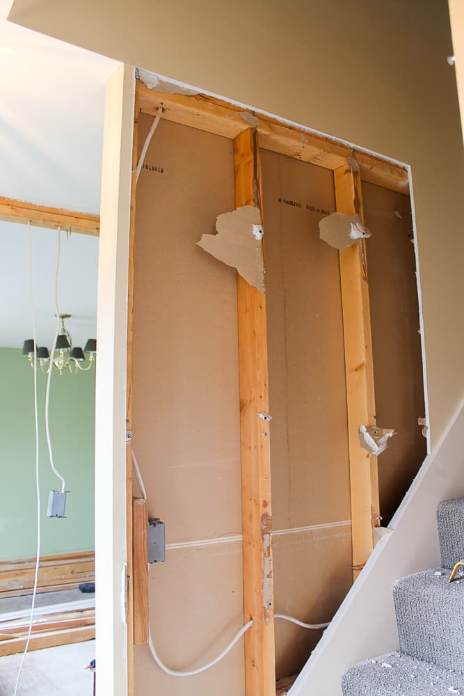 how to remove drywall when opening interior stairs