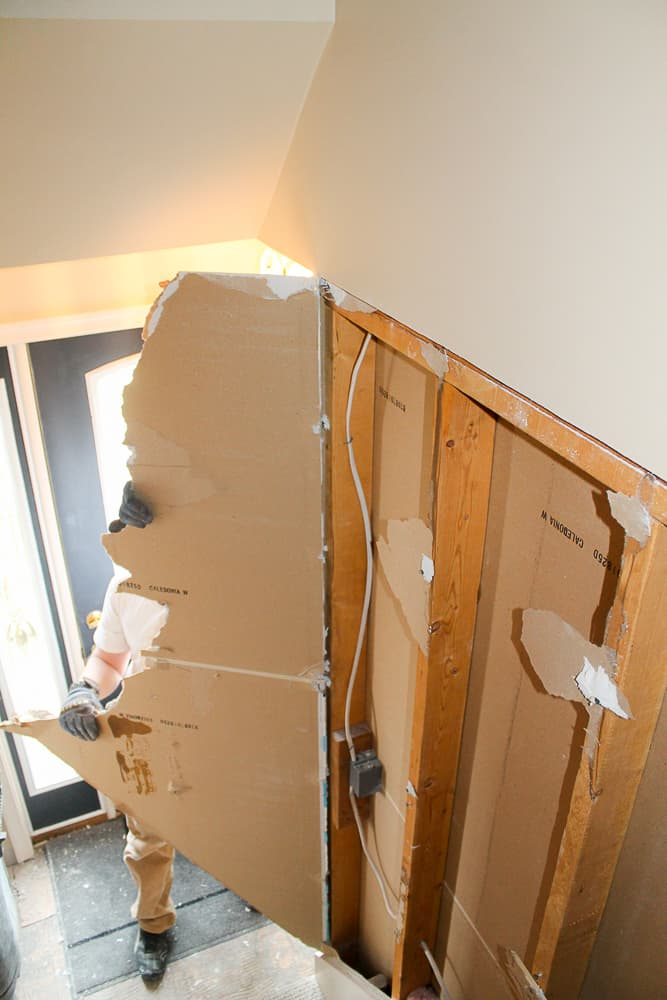 how to remove drywall when opening stairs