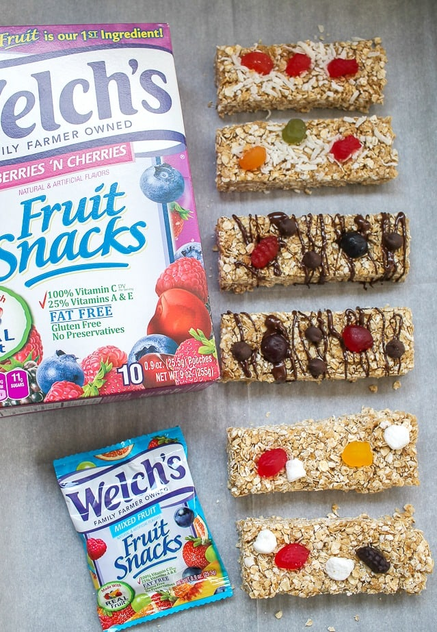 Homemade Granola Bars with Welchs Fruit Snacks and Chocolate