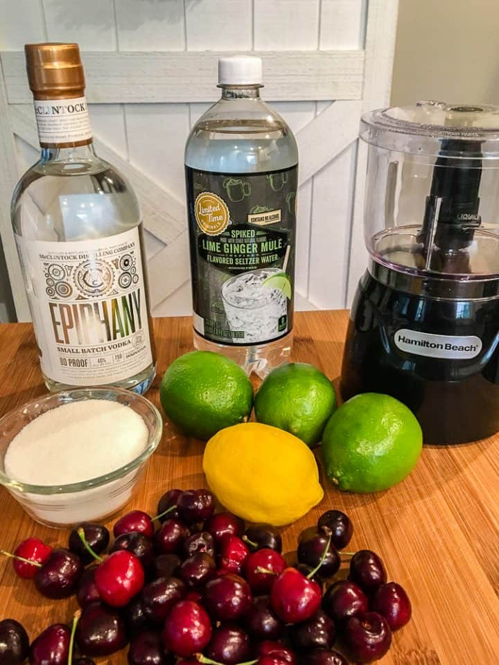 Ingredients for Sparkling Cherry Lime Cocktail
