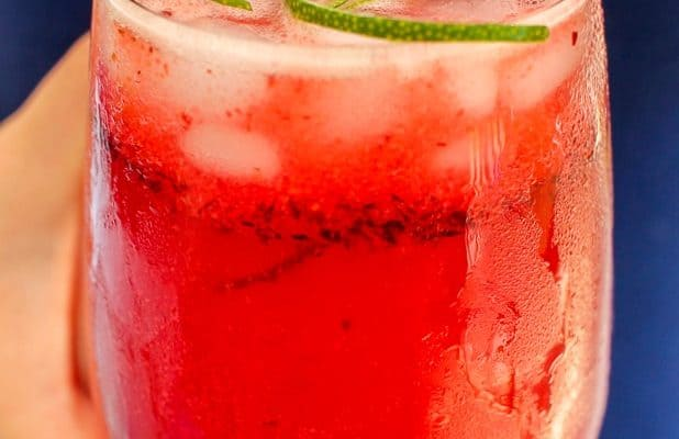 Sparkling Cherry Lime Cocktail