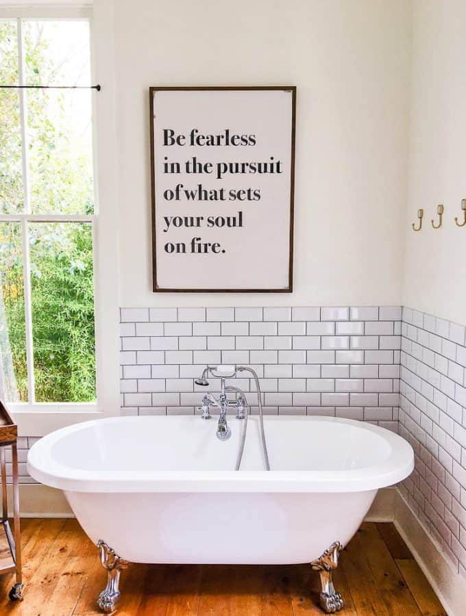 The Morrow House Waco Texas Fixer Upper air bnb bathroom