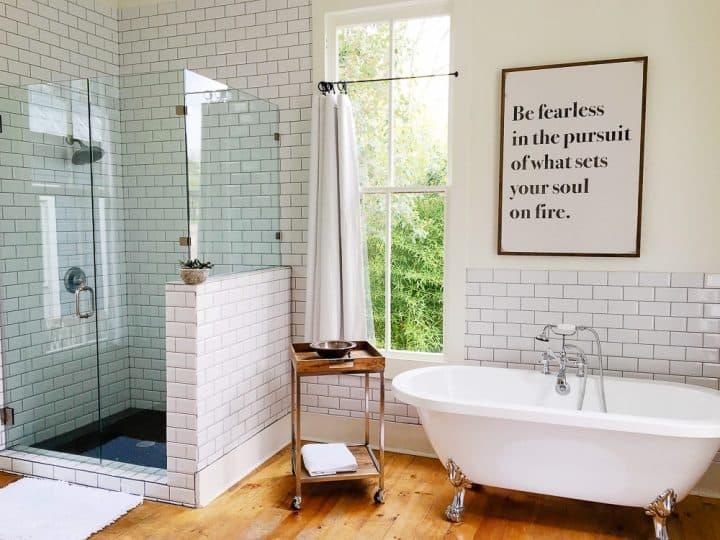 The Morrow House Waco Texas Fixer Upper air bnb master bathroom