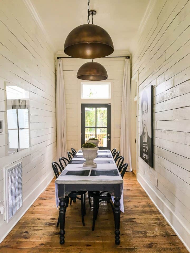 The Morrow House in Waco Texas from Fixer Upper hallway dining room